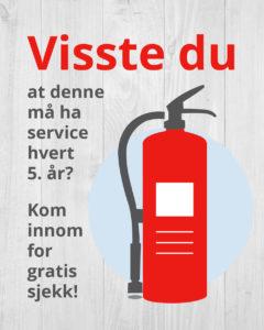 Brannslukningsapparater må ha serive hver 5. år